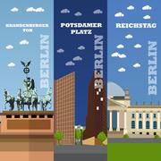 Berlin tourist landmark banners. Vector illustration with German famous Piirros