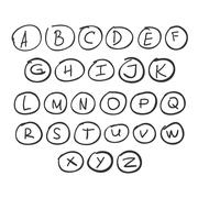 Scribble Circle Font Hand Drawn Alphabet Black Isolated Stock Illustration