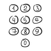 Scribble Circle Font Hand Drawn Numbers Black Isolated - stock illustration