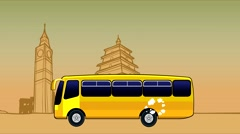 Cartoon bus rides on the background of the architectural landmarks of the world Stock Footage