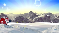 cartoon group of Santa Clauses with gifts go on winter mountains. - stock footage