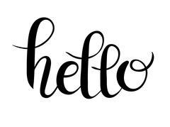 Hello script hand written lettering inscription for your design Piirros
