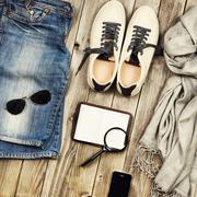 Set of travel items. - stock photo