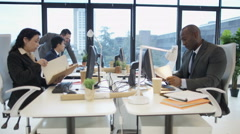 4K Mixed ethnicity corporate business group working together in city office Stock Footage