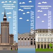 Warsaw tourist landmark banners. Vector illustration with Poland famous - stock illustration