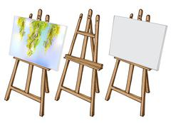 Wooden easel and canvas - stock illustration