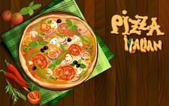 Pizza italian background Stock Illustration