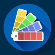 Color guide swatches palette - typographic fan icon. Flat design style. - stock illustration