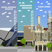 Toronto tourist landmark banners. Vector illustration with Canada famous Stock Illustration