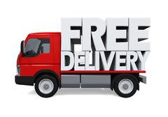 Delivery Van with Free Delivery Text Stock Illustration