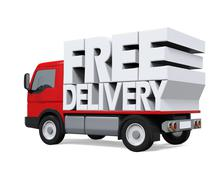 Delivery Van with Free Delivery Text - stock illustration