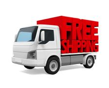 Delivery Van with Free Shipping Text - stock illustration