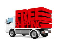Delivery Van with Free Shipping Text Stock Illustration