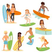 Surfing people vector set Stock Illustration
