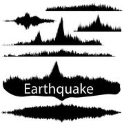 Earthquake Wave on Paper Fixing. Audio Wave Set Piirros