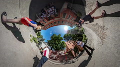 360Vr Video Celebration of Last Studying Day Opole Happy Children and Teacher Stock Footage