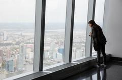 People in One World Observatory in New York City Stock Photos