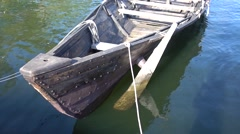Bow of handmade boat - stock footage