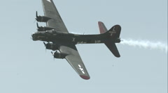 B-17 Flying Fortress Flying in Slow Motion. Stock Footage