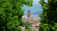 Panoramic view of the city of Florence, Palazzo Vecchio,Tuscany Italy Stock Footage