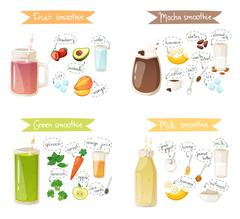 Smoothie drink recipe vector set Stock Illustration