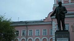 Full length statue of Vladimir Lenin, St. Petersburg, Russia Stock Footage