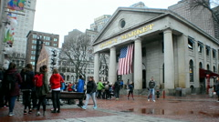 Quincy Market is historic market complex in downtown Boston,, USA. Stock Footage