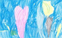 Children Drawing Pencils Stock Illustration