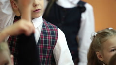 Primary school students answer at the lesson. Russia - stock footage