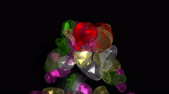 4k Falling gems diamonds jewelry crystal precious stones,rich minerals wealth. Stock Footage