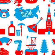 Russian symbols seamless pattern. Russia national ornament. State traditional - stock illustration