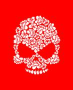 Floral skull on red background. White roses and skeleton head. Beautiful flor Stock Illustration