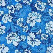 Blue Rose seamless pattern. Retro floral texture. Vintage Flora ornament Stock Illustration