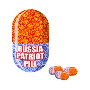 Russian patriotic pill. Capsule with national traditional ornament. Folk medi - stock illustration