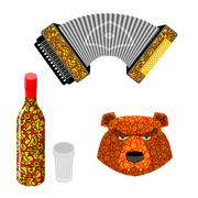 Russian symbol icon set. Bear, vodka and accordion. Traditional Russian Khokh - stock illustration