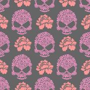 Flower skull seamless pttern. Skull of pink flowers and roses ornament. Beaut - stock illustration