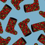 Valenki khokhloma seamless pattern. National Russian winter footwear from fel - stock illustration