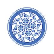 Gzhel Russian national pattern. Retro Floral ornament. Round decorated dish.  - stock illustration