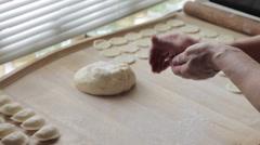 Cook prepares dumplings Stock Footage