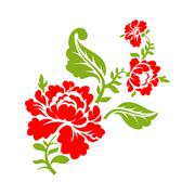 Rose on  branch on white background. Isolated floral elements. Red flower and Stock Illustration