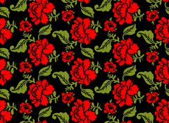 Red Rose seamless pattern. Floral texture. Russian folk ornament. Red flowers - stock illustration