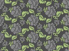 Black Rose seamless pattern. Retro floral texture. Vintage Flora ornament. Fl - stock illustration