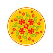 Russian national pattern Hohloma. Retro Floral ornament. Round decorated dish - stock illustration