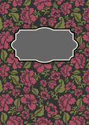 Roses floral card. Frame template to text. Vector illustration background Stock Illustration