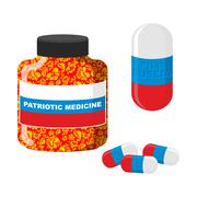 National Patriotic medicine in Russia.  Pill with Russia. Bottle with pills. Stock Illustration