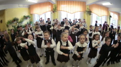 Daily dozen is in the elementary school in Russia Stock Footage