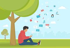 Young man sitting in the park and texting messages using smartphone - stock illustration
