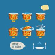 Instruction cooking. Set pots infographics. Home Cooking Recipe. step by step - stock illustration
