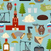 Russia sightseeing seamless pattern. Moscow Kremlin and Samovar, oil pump and Stock Illustration