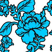 Blue Rose seamless pattern. Retro floral texture. Vintage Flora ornament Stock Illustration
